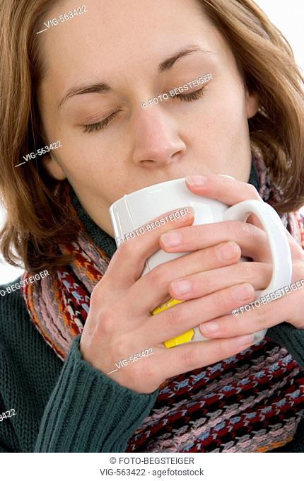woman drinks cup of tea. - 19/11/2007