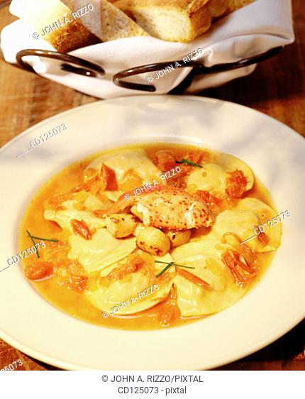Raviolli with scallops and lobster