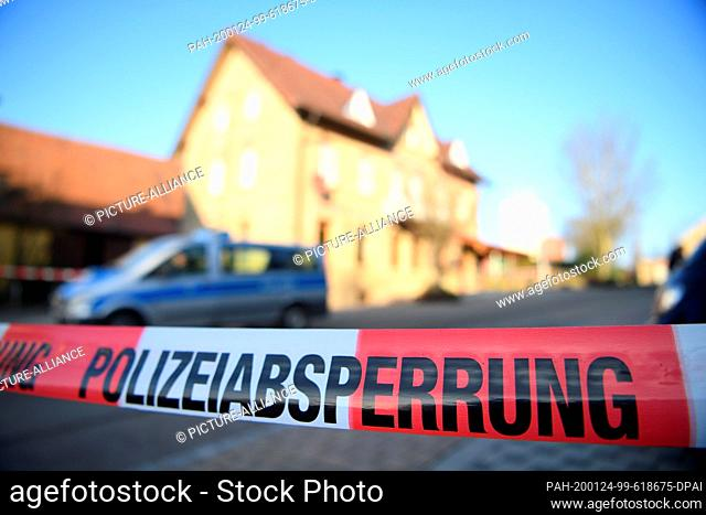 24 January 2020, Baden-Wuerttemberg, Rot Am See: After shots were fired in Rot am See in northeastern Baden-Wuerttemberg