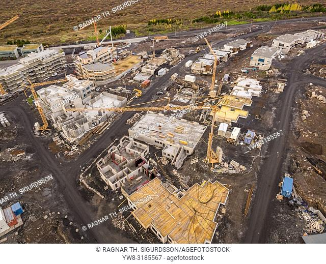 Aerial - Construction site, suburbs of Reykjavik, Iceland