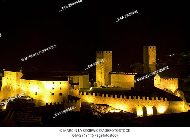 Castelgrande in Bellinzona by Night