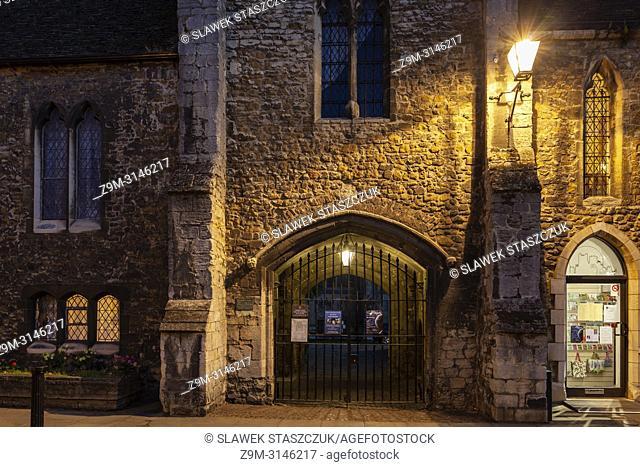 Night falls in Ely, Cambridgeshire, England