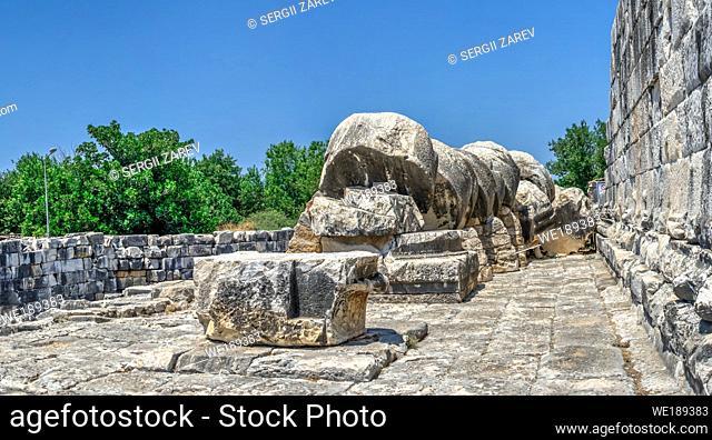 Column drums fallen by an earthquake, Temple of Apollo, Didyma, Turkey, on a sunny summer day