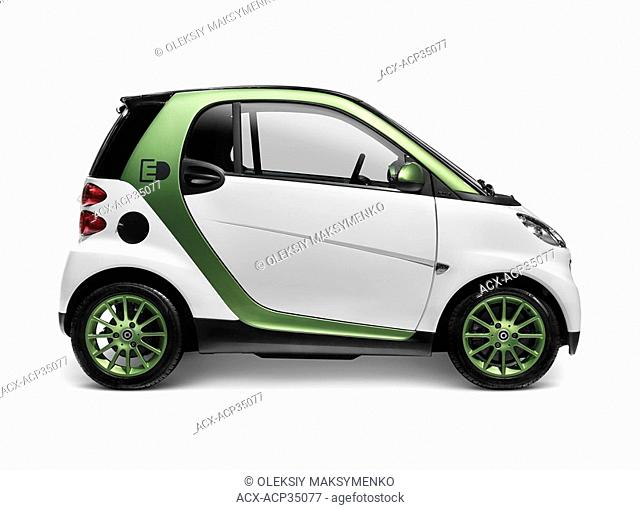 2010 Smart Fortwo Electric Drive - eSmart - Smart ED battery powered city car. Isolated on white background with clipping path