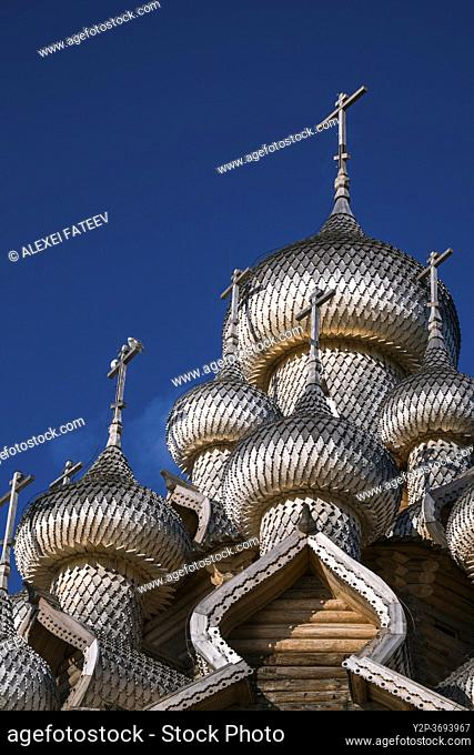 Domes of Vhurch of Trabsfiguration at Kizhi Pogost, Karelia, Russia