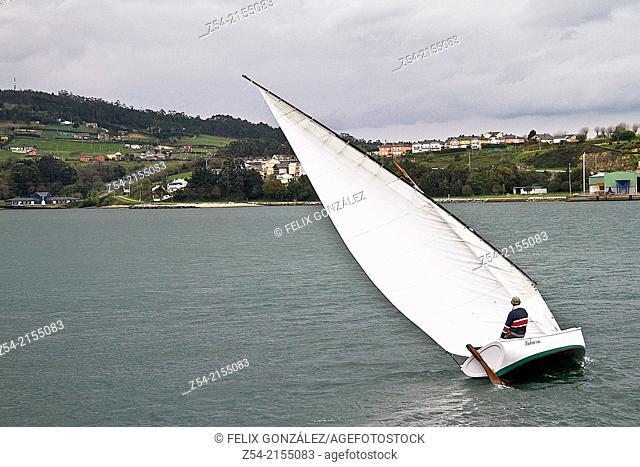Latin sail boat at Ribadeo, Lugo Spain