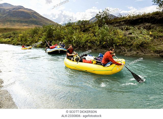 Rafters on Noatak River in the Brooks Range, Gates of the Arctic National Park, Northwestern Alaska, above the Arctic Circle, Arctic Alaska, summer