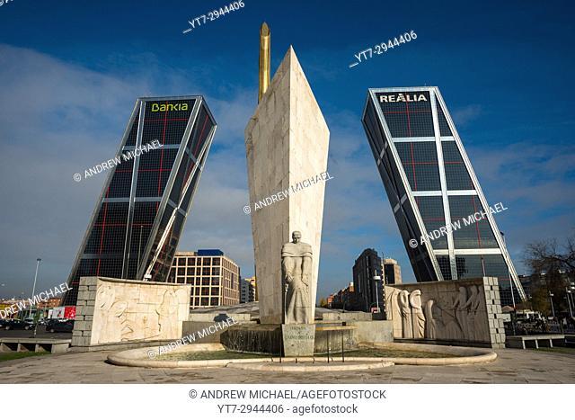 Puerta de Europa in Madrid, Spain. Also known as the Kio Towers (Torres Kio)