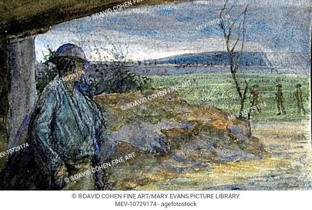 In railway embankment, looking toward Vimy Ridge. 313870 Gunner Vivian John Cummings, Born 31.07.1875, 3Rd Canadian Division, Canadian Expeditionary Force