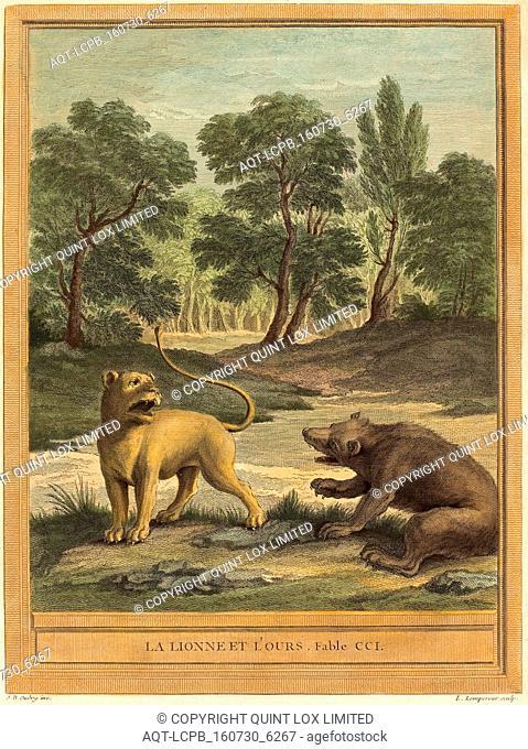 Louis-Simon Lempereur after Jean-Baptiste Oudry (French, 1728 - 1807), La lionne et l'ours (The Lion and the Bear, published 1759, hand-colored etching