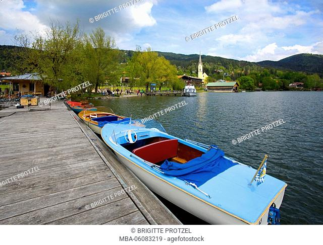 Schliersee lake, View from the landing stage to parish church and shipping pier