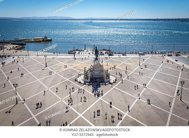 Aerial view from Rua Augusta Arch on Praca do Comercio - Commerce Square in Lisbon, Portugal