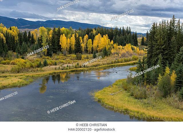 Wyoming, Rocky Mountains, Teton County, Grand Teton National Park, Buffalo Fork near Moran
