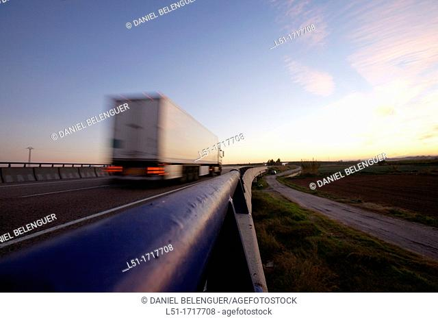 truck at dusk, Sollana, Valencia, Spain