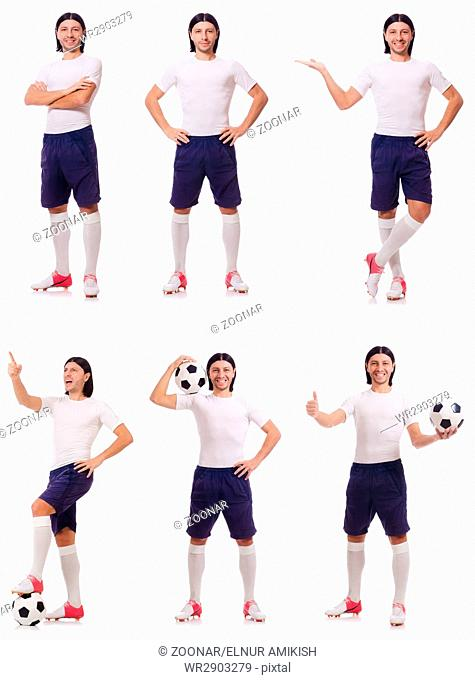 Young male football player isolated on white