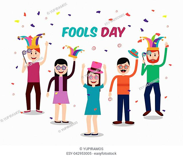 people jester hats crazy glasses celebration fools day vector illustration