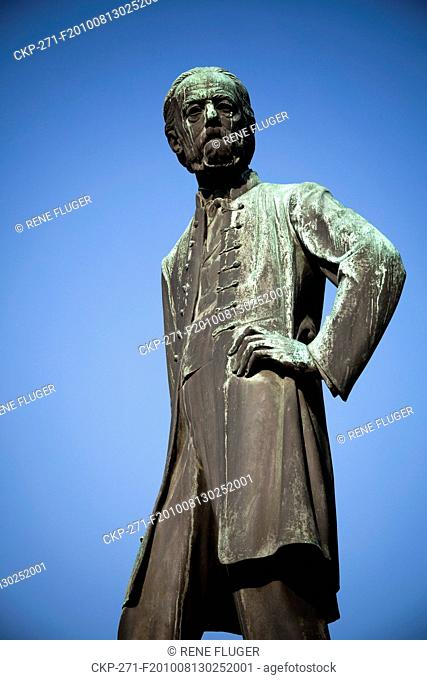 Statue of the music composer Bedrich Smetana by sculpturer Jan Stursa on Smatana Square in Litomysl The East Bohemiann town Litomysl was awarded Historical Town...