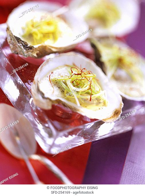 Poached Oysters with Leeks and Saffron
