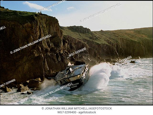 UK Land's End -- 31 Oct 2003 -- Waves crash against the side of the wrecked RMS Mulheim which ran into difficulties in between Sennen Cove and Land's End in...