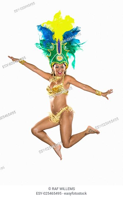 Carnival, Samba Dancer, dressed in feather costume