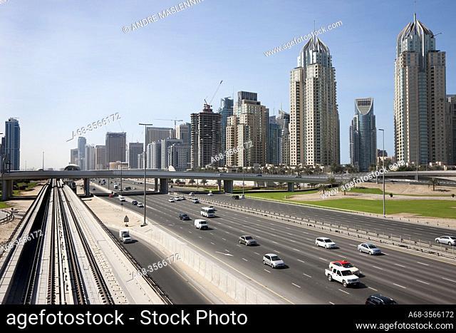 Sheikh Zayed Road in Dubai. The Dubai Marina. Photo: André Maslennikov