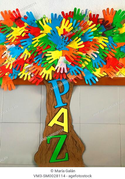 Peace tree. Collage in a school