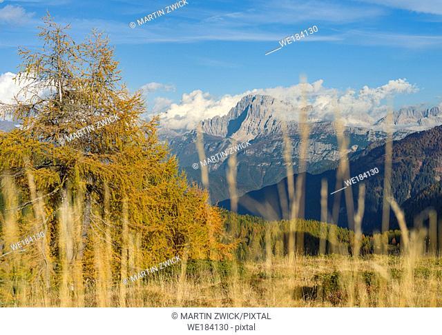 View over Val Biois from Passo di Valles towards Civetta, Monte Pelmo in the background. Civetta and Pelmo are part of UNESCO world heritage Dolomites