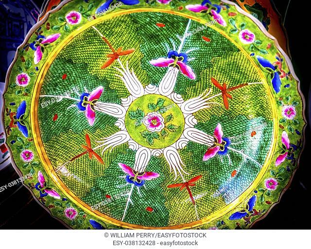 Old Chinese Design Flower Design Ceramic Plate Panjuan Flea Market Beijing China. Panjuan Flea Curio market has many fakes