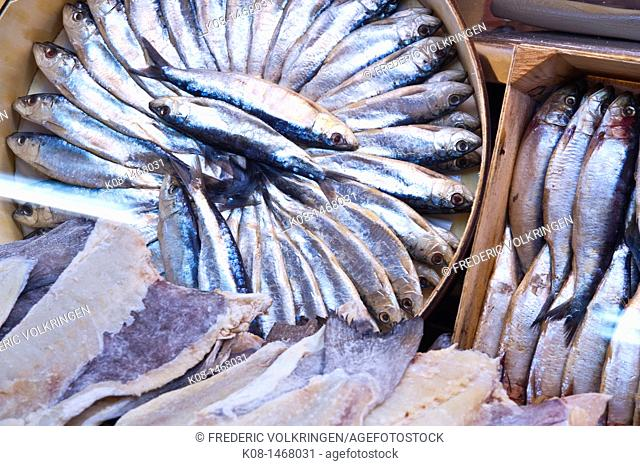 Sardines and anchovies at a fishmonger's, Spain