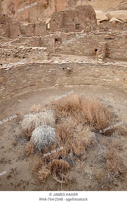 Kiva and other structures at Pueblo Bonito, Chaco Culture National Historic Park, UNESCO World Heritage Site, New Mexico, United States of America