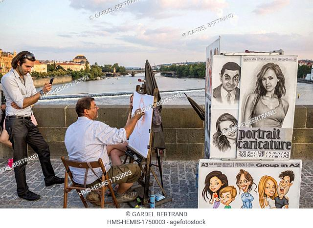 Czech Republic, Prague, historical center listed as World Heritage by UNESCO, Charles Bridge (Karluv Most), cartoonists