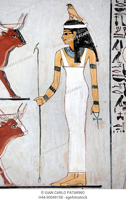 Luxor, Egypt, tomb of Menna or Menena (TT69) in the Nobles Tombs (Sheikh Abd El-Qurna necropolis): beautiful scenes of life. The Hathor goddess