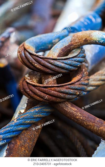 Close up of a corroded or broken wire rope ready for recycling. Scotland UK