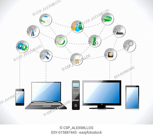 electronics and Cloud glossy icon