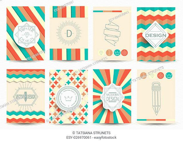 Set of Retro Insignias, Logotypes, brochures in vintage style