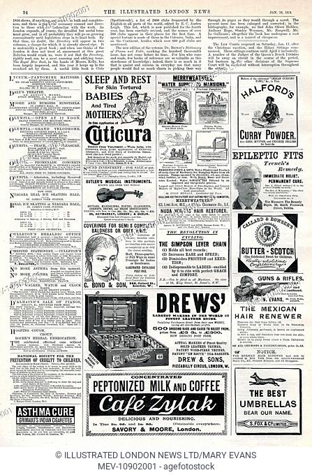 A page of advertisements from The Illustrated London News, 18th January 1896. Products promoted include Halford's curry powder