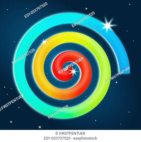 Colorful rainbow spiral with stars