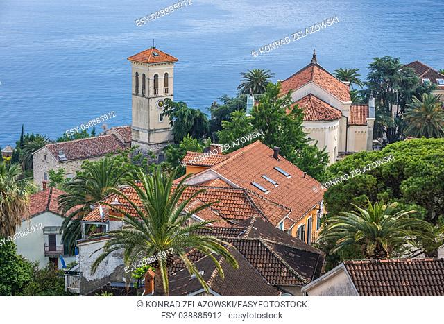 Aerial view from Kanli kula fortress with bell tower of Saint Jerome Church in Herceg Novi city on the Adriatic Sea coast in Montenegro