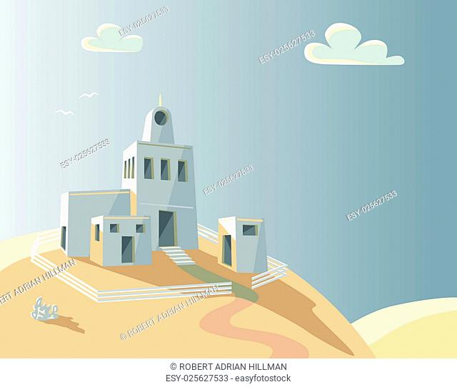 Editable vector illustration of an adobe homestead on a hilltop with background made using a gradient mesh