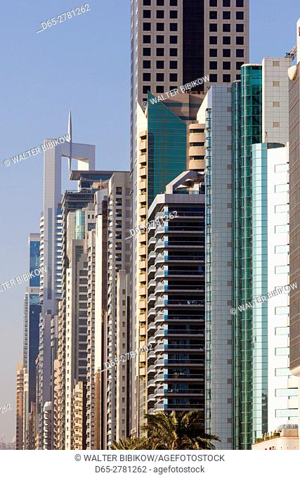 UAE, Dubai, Downtown Dubai, high rise buildings along Sheikh Zayed Road