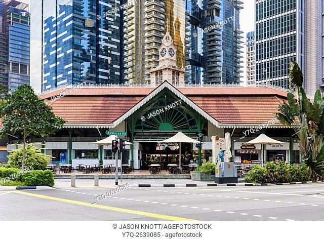 Lau Pa Sat hawker with Financial District buildings backdrop, Raffles Quay, Singapore