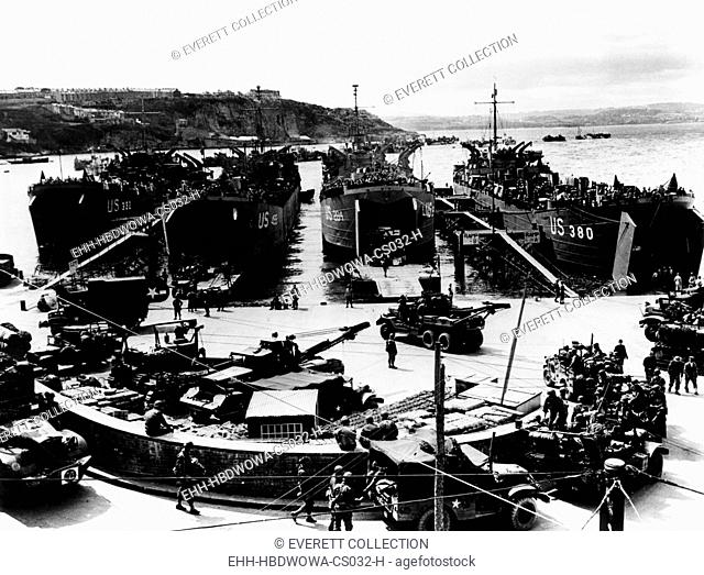 American soldiers being loaded into barges in Plymouth, England for their voyage to Normandy, France. Courtesy: CSU Archives/Everett Collection