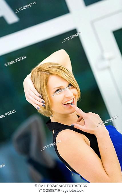 Attractive woman framed lovely portrait teasing