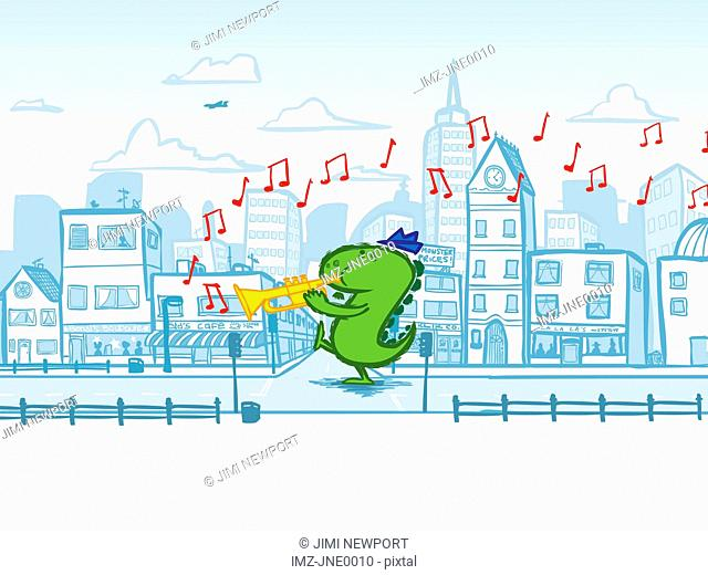 A dinosaur playing the trumpet