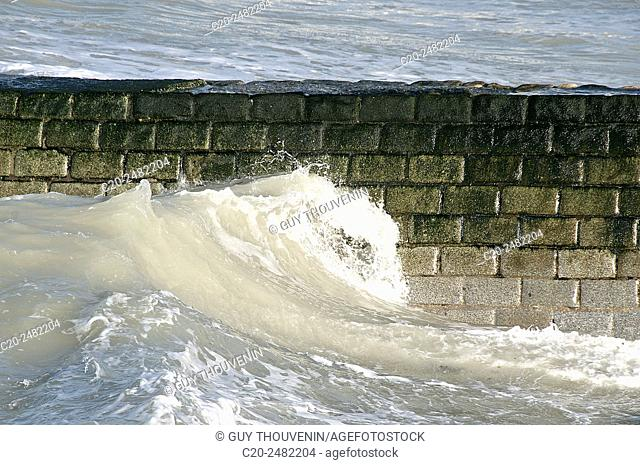 Tide waves coming in, Normandy, France