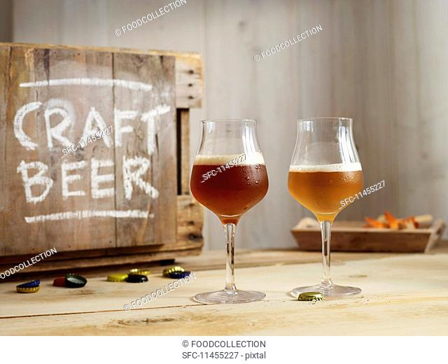 Glasses of IPA (Indian Pale Ale) craft beer