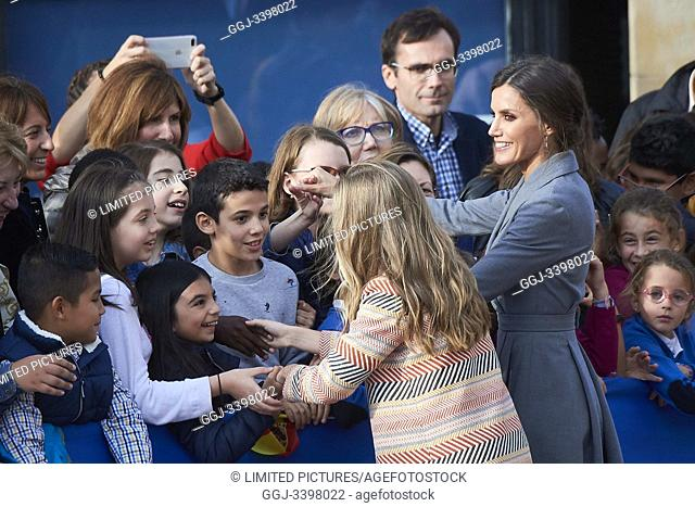 Queen Letizia of Spain, Crown Princess Leonor arrived to Alfonso II Square (Cathedral's Square) for Princesa de Asturias Awards 2019 on October 17