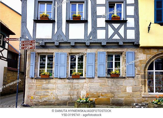 Traditional half-timbered architecture in Forchheim's historic center, Street scene, Kapellenstrasse - Chapel Street, Forchheim, Franconian Switzerland