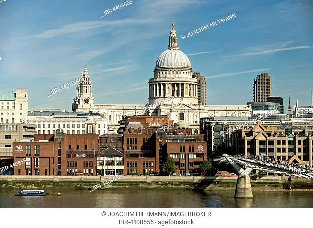 St Paul's Cathedral and Millennium Bridge, London, England, United Kingdom