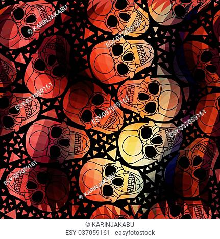 Skull with polygonal ornament.Halloween.Seamless abstract pattern with zigzag lines.Aurora skull.Vector illustration